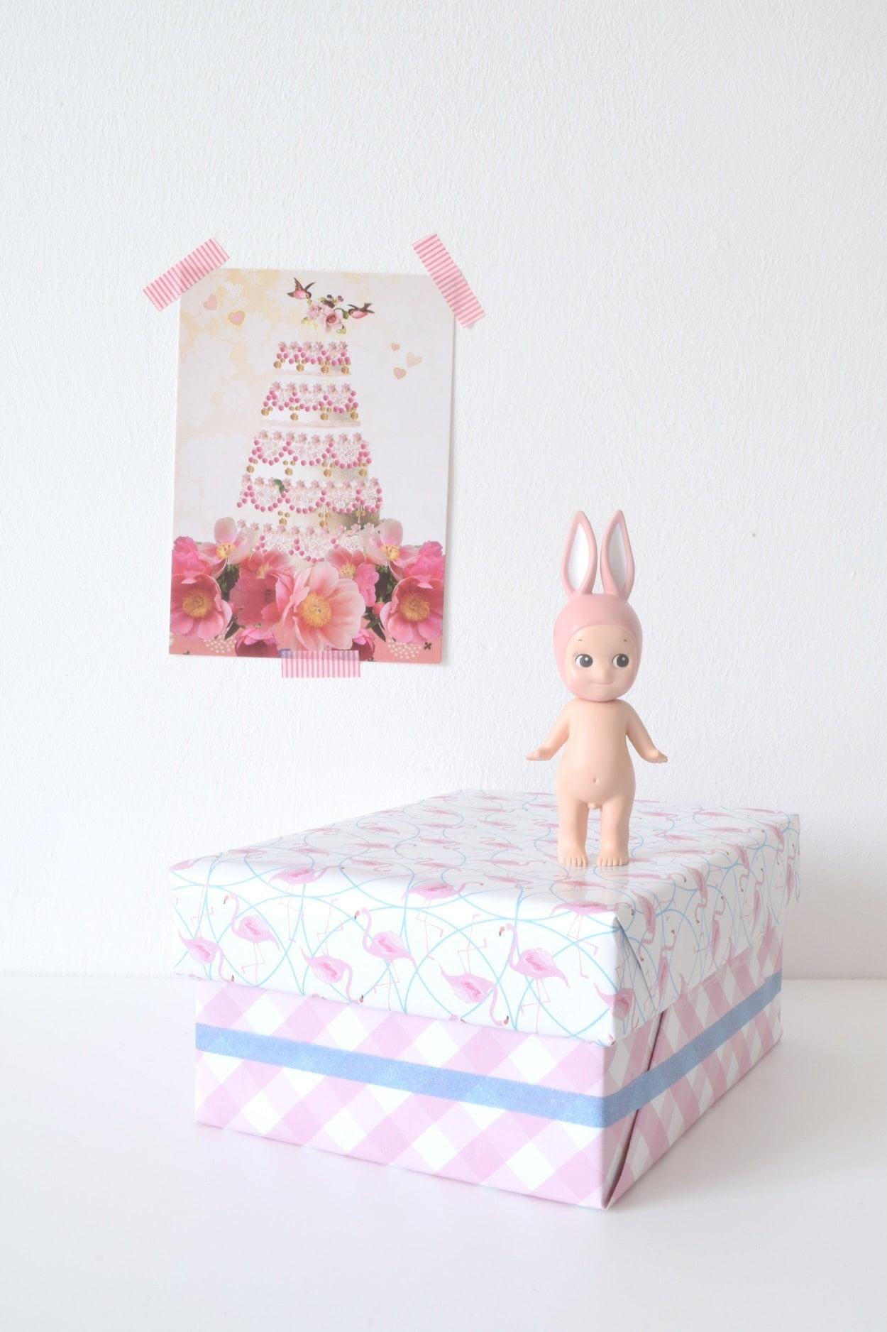 H&S cadeaupapier flamingo schuin